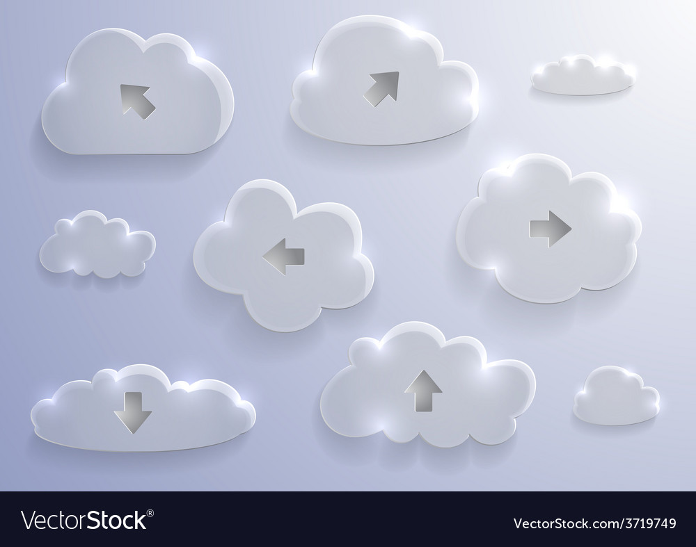 Glass cloud collection vector | Price: 1 Credit (USD $1)
