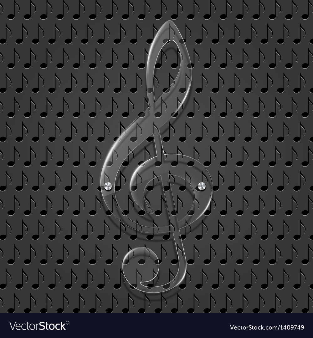 Glass treble clef on metal texture background vector | Price: 1 Credit (USD $1)