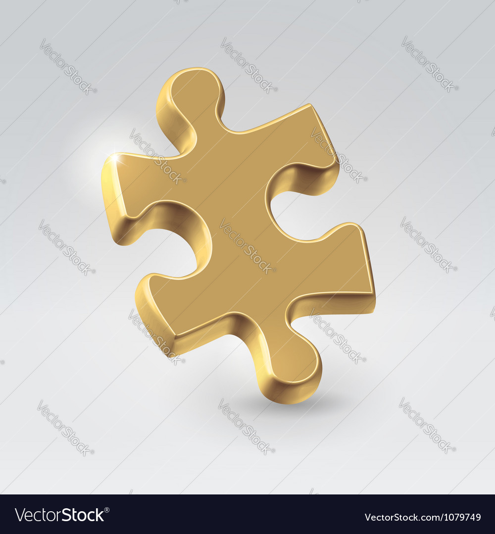 Golden jigsaw puzzle piece vector | Price:  Credit (USD $)