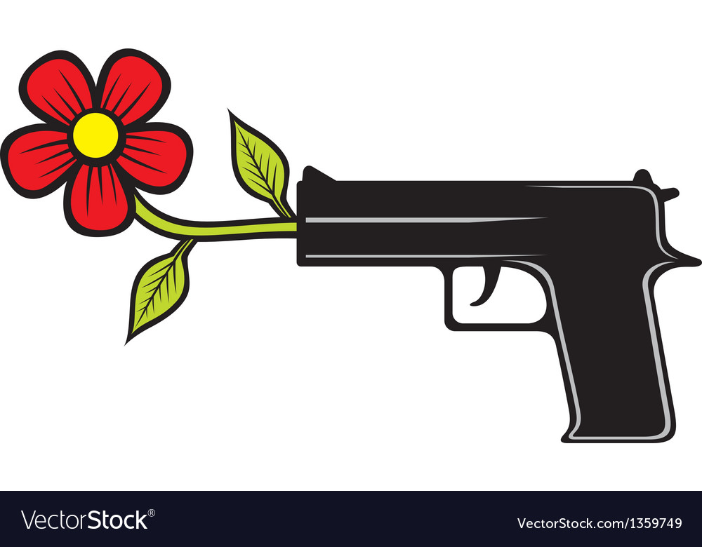 The gun shoots flowers vector | Price: 1 Credit (USD $1)