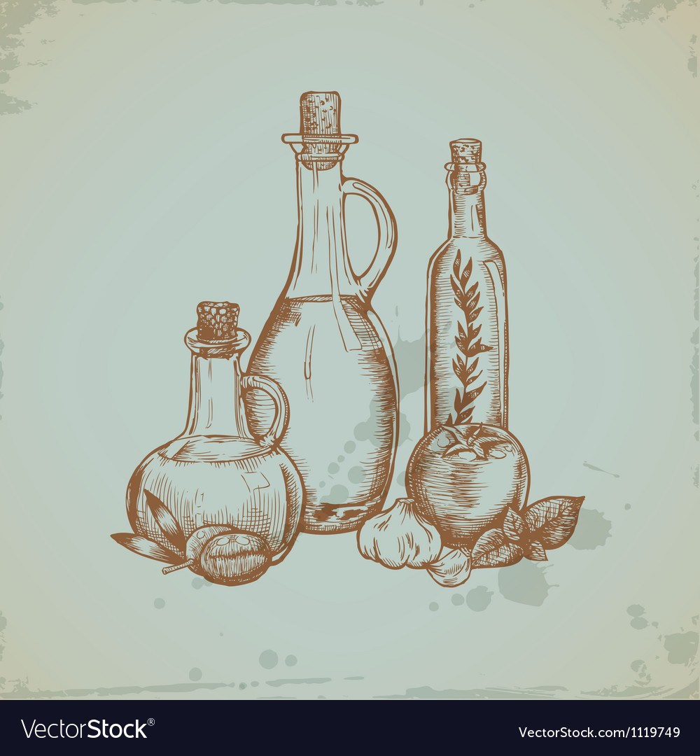Hand drawn olive oil in glass bottles still life vector | Price: 1 Credit (USD $1)