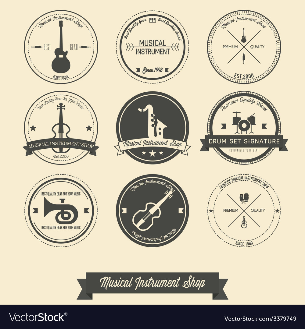 Musical instrument shop vintage label vector | Price: 1 Credit (USD $1)