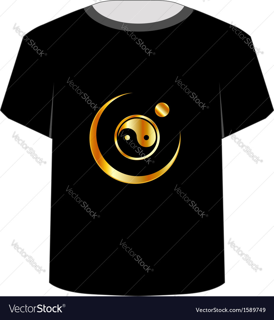 T shirt template- yin yang symbol vector | Price: 1 Credit (USD $1)