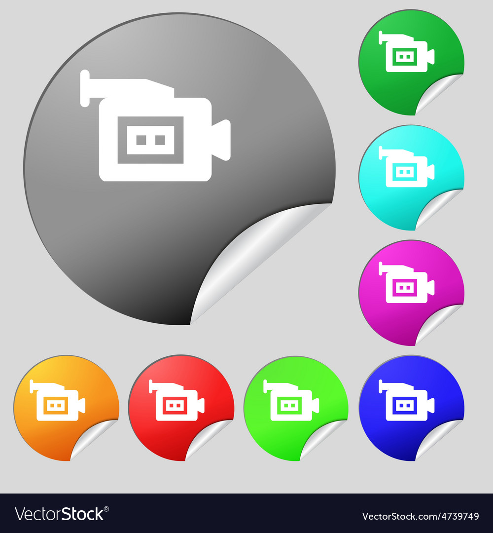 Video camera icon sign set of eight multi-colored vector | Price: 1 Credit (USD $1)