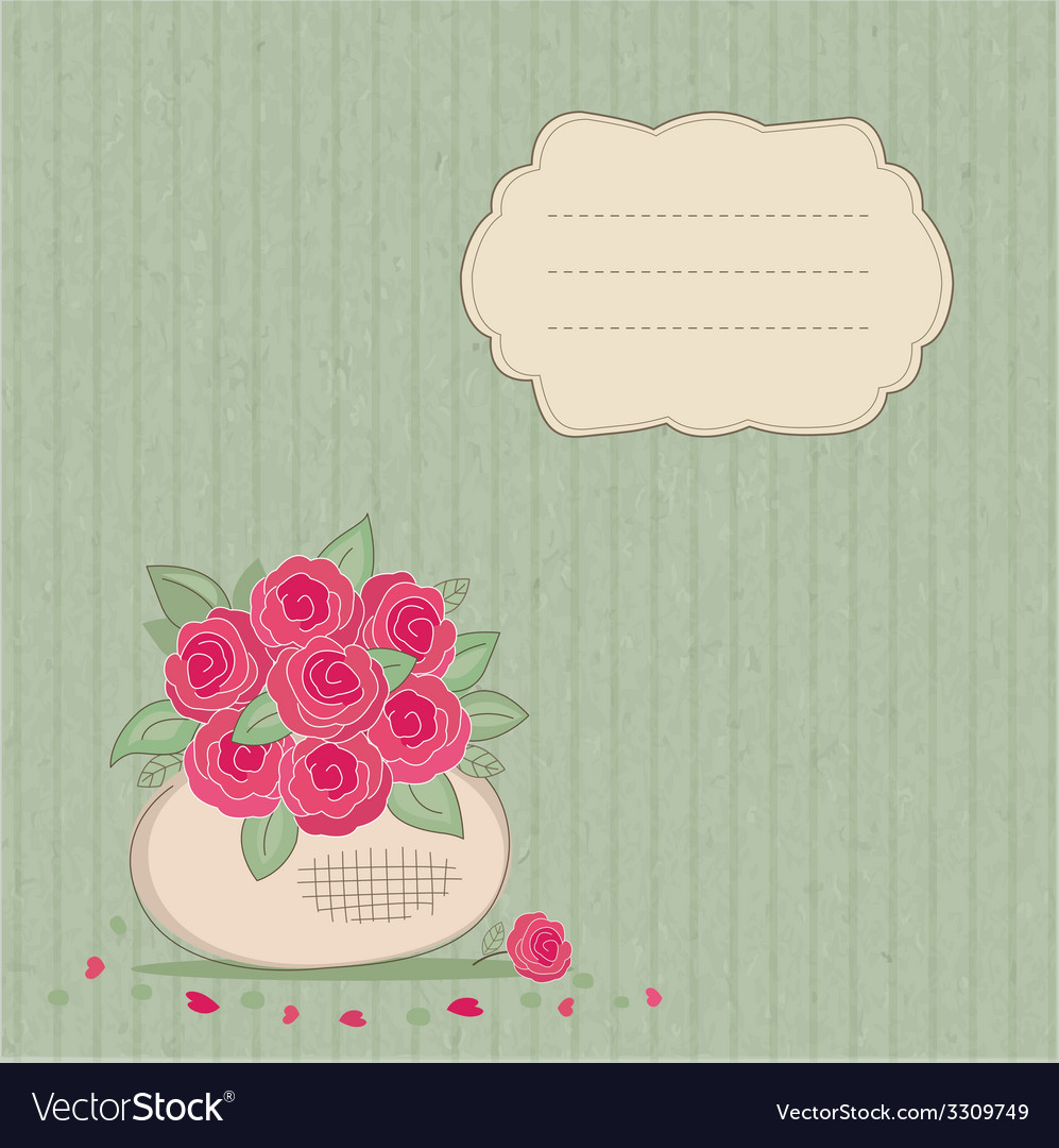 Vintage background with basket of flowers vector | Price: 1 Credit (USD $1)