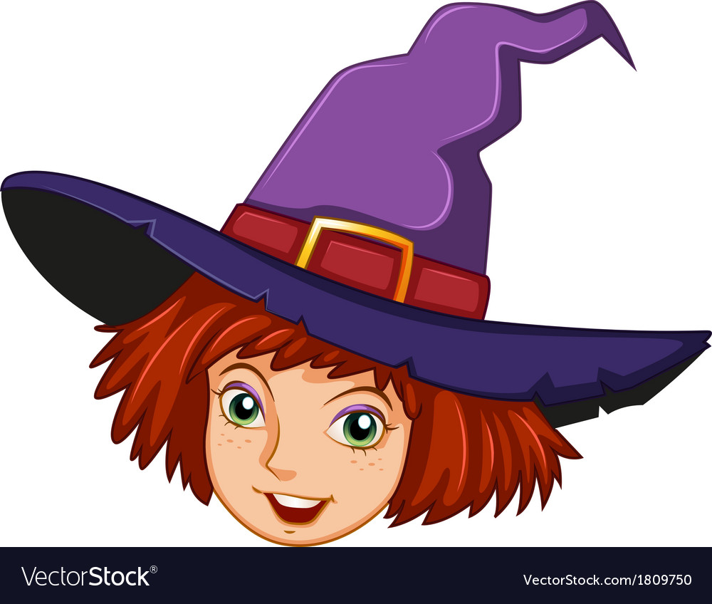 A smiling witch with a purple hat vector   Price: 1 Credit (USD $1)