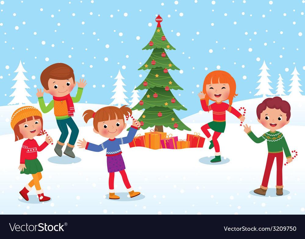 Children celebrate christmas and new year vector | Price: 1 Credit (USD $1)