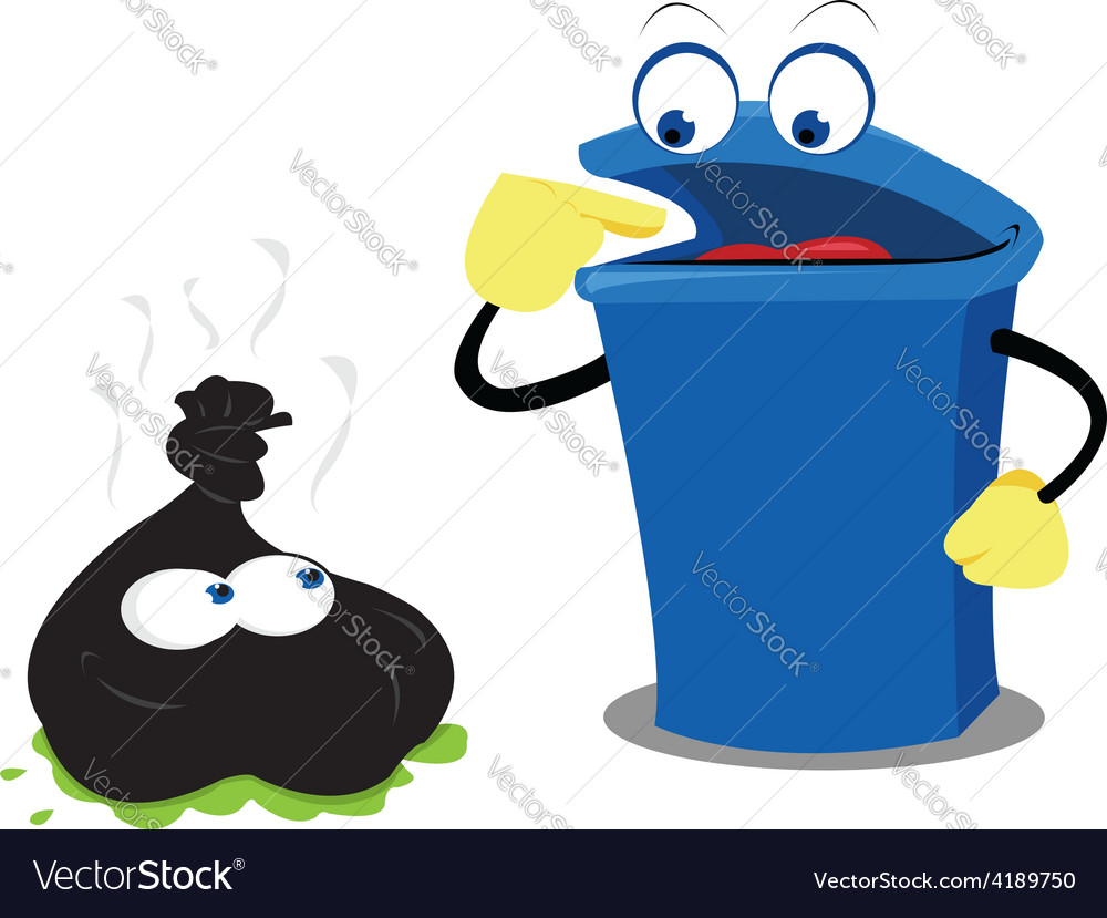 Funny waste and a bin vector | Price: 1 Credit (USD $1)