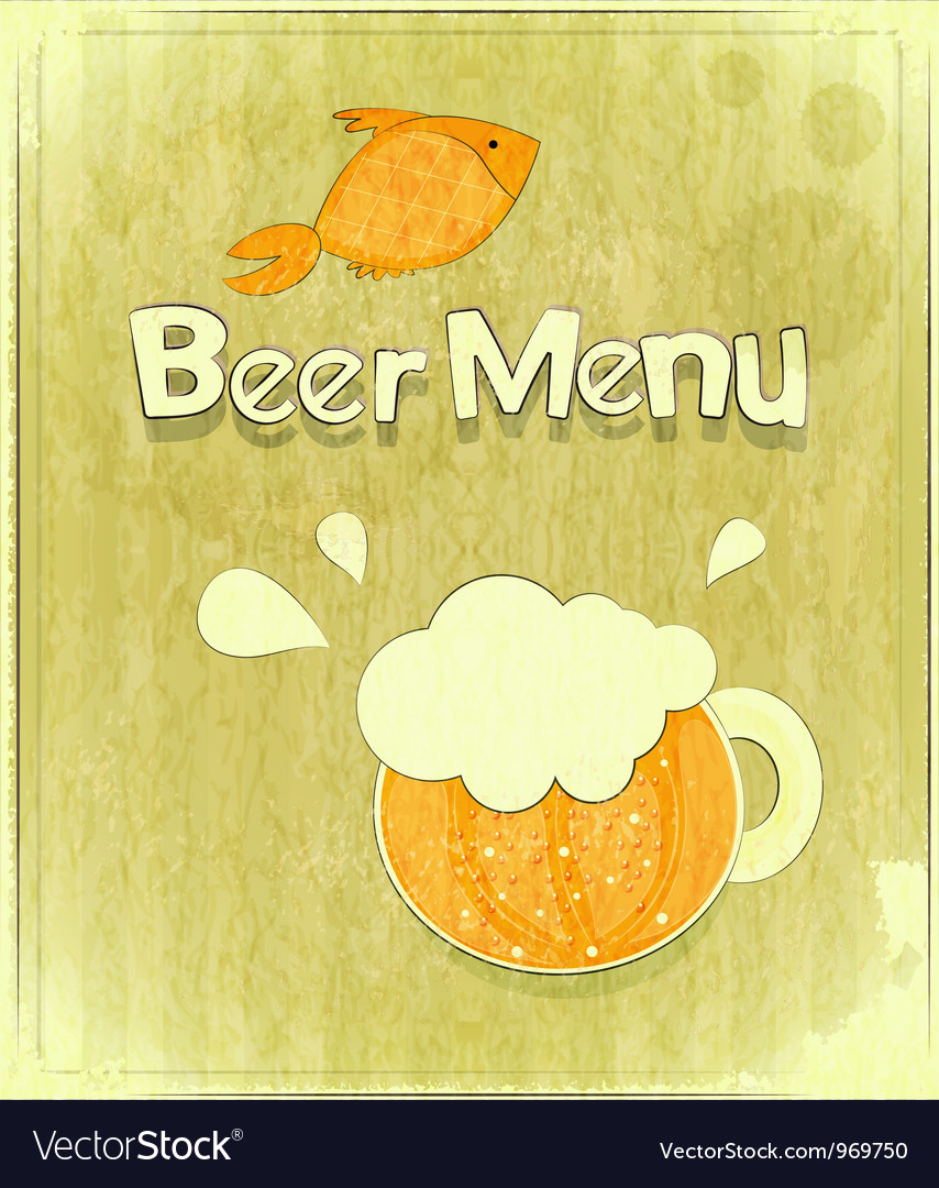 Glass of beer and fish vector | Price: 1 Credit (USD $1)