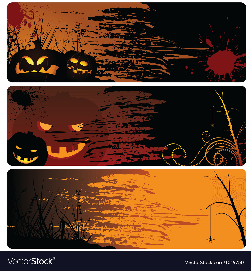 Halloween banner set vector | Price: 1 Credit (USD $1)