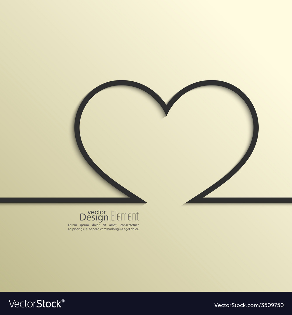 Ribbon in the form of heart with shadow and space vector | Price: 1 Credit (USD $1)