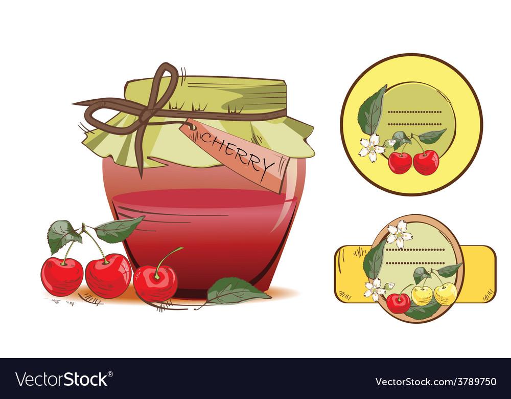 Sweet cherry jam vector | Price: 1 Credit (USD $1)