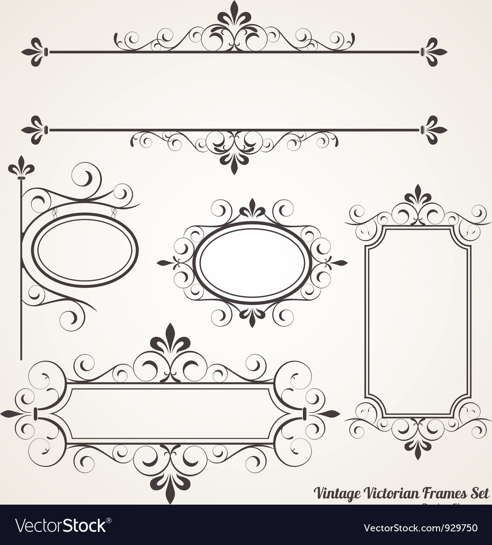 Vintage victorian frame set vector | Price: 1 Credit (USD $1)
