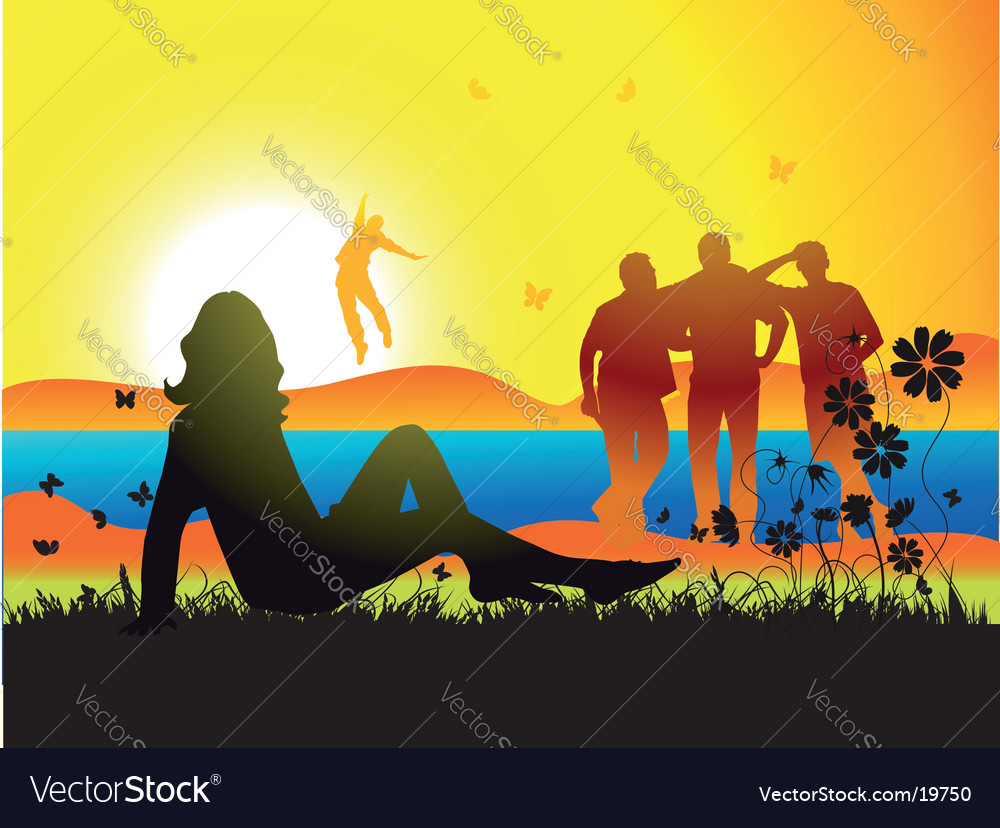 Woman on nature vector | Price: 1 Credit (USD $1)