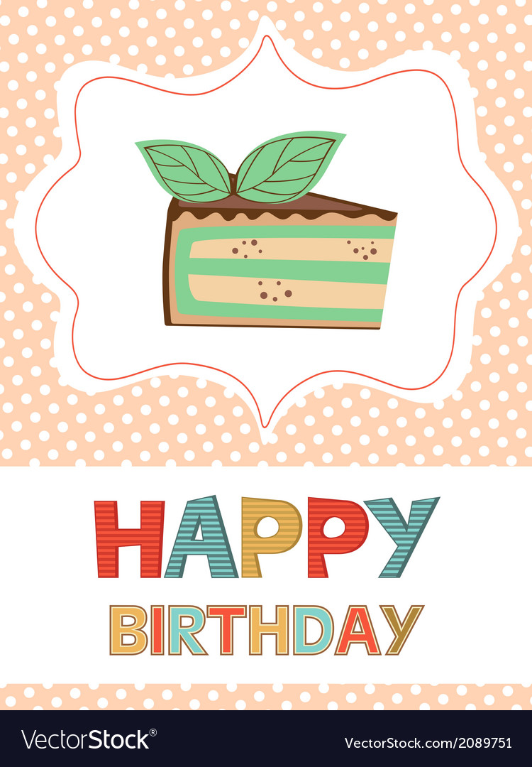 Birthday card with peace of cake vector | Price: 1 Credit (USD $1)