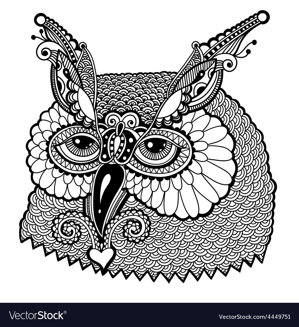 Black and white owl head vector | Price: 1 Credit (USD $1)