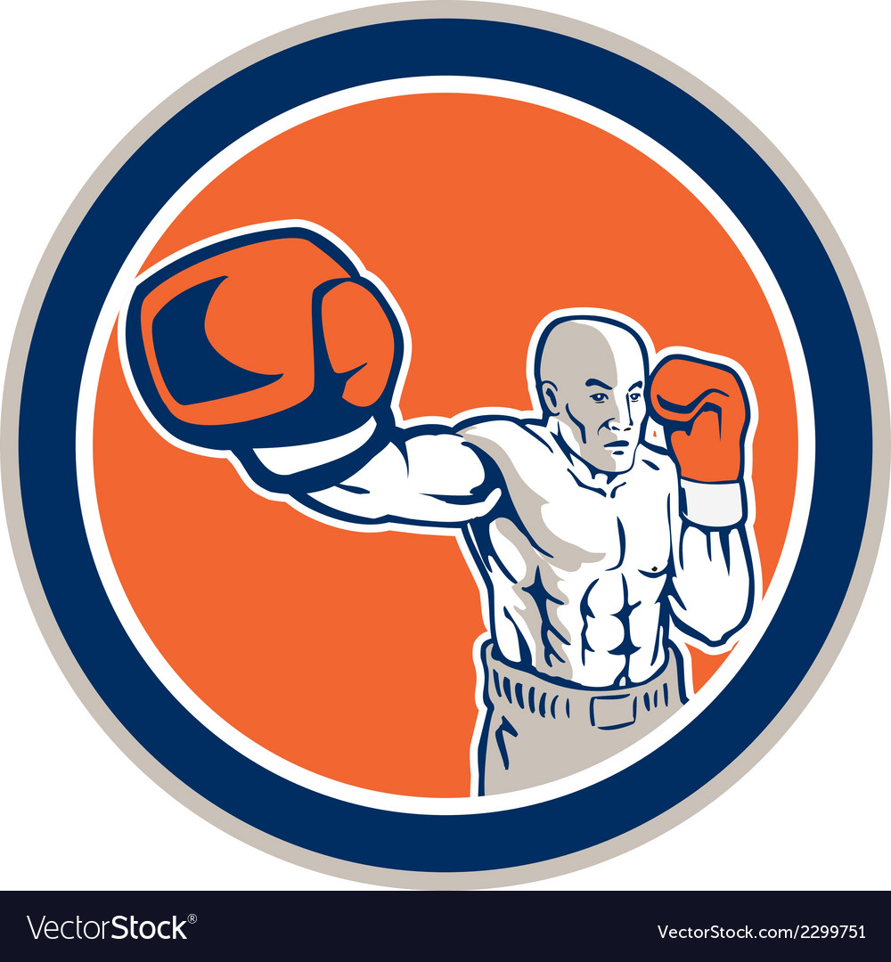 Boxer boxing punching jabbing circle retro vector | Price: 1 Credit (USD $1)