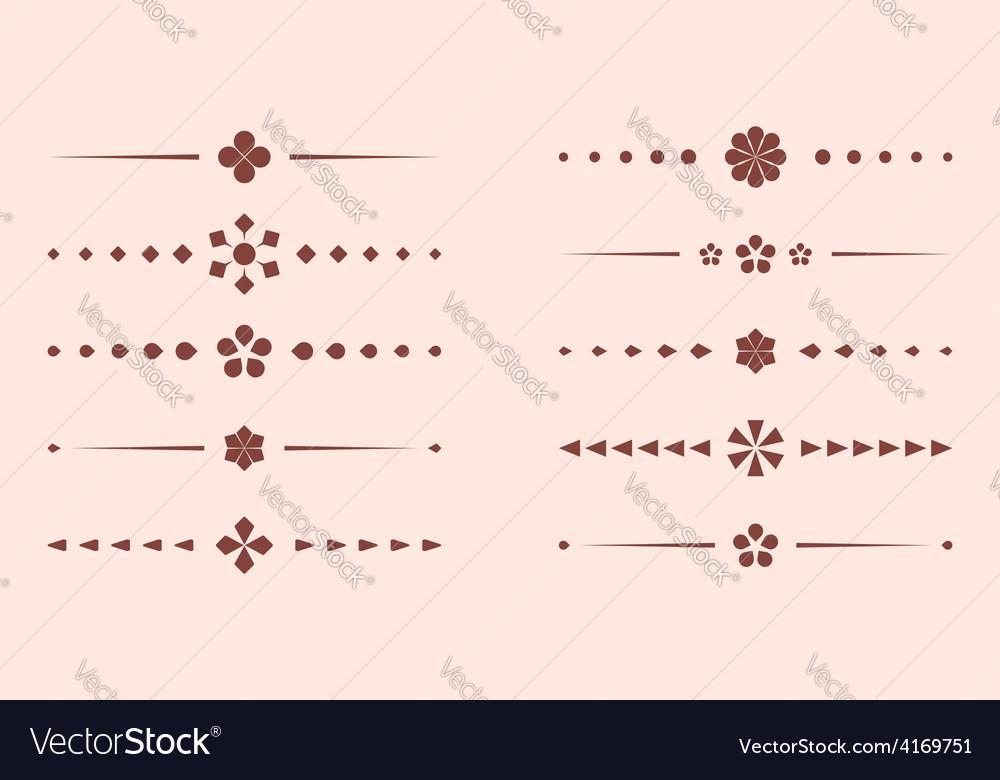 Brown geometric dividers  set vector