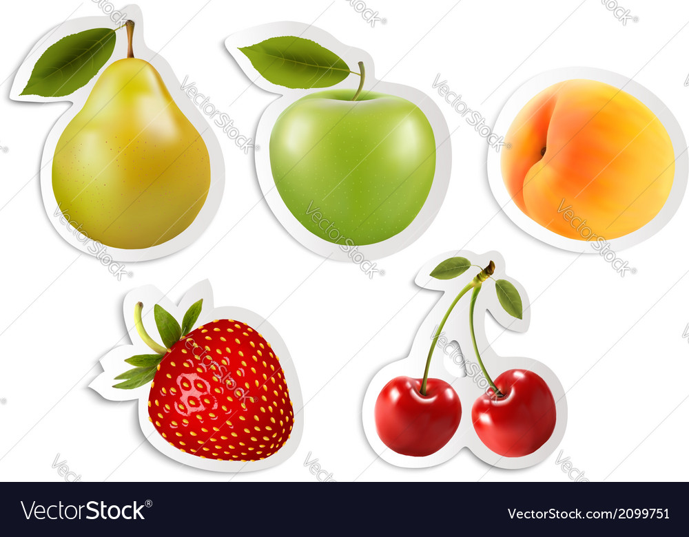 Five fruit stickers vector | Price: 1 Credit (USD $1)