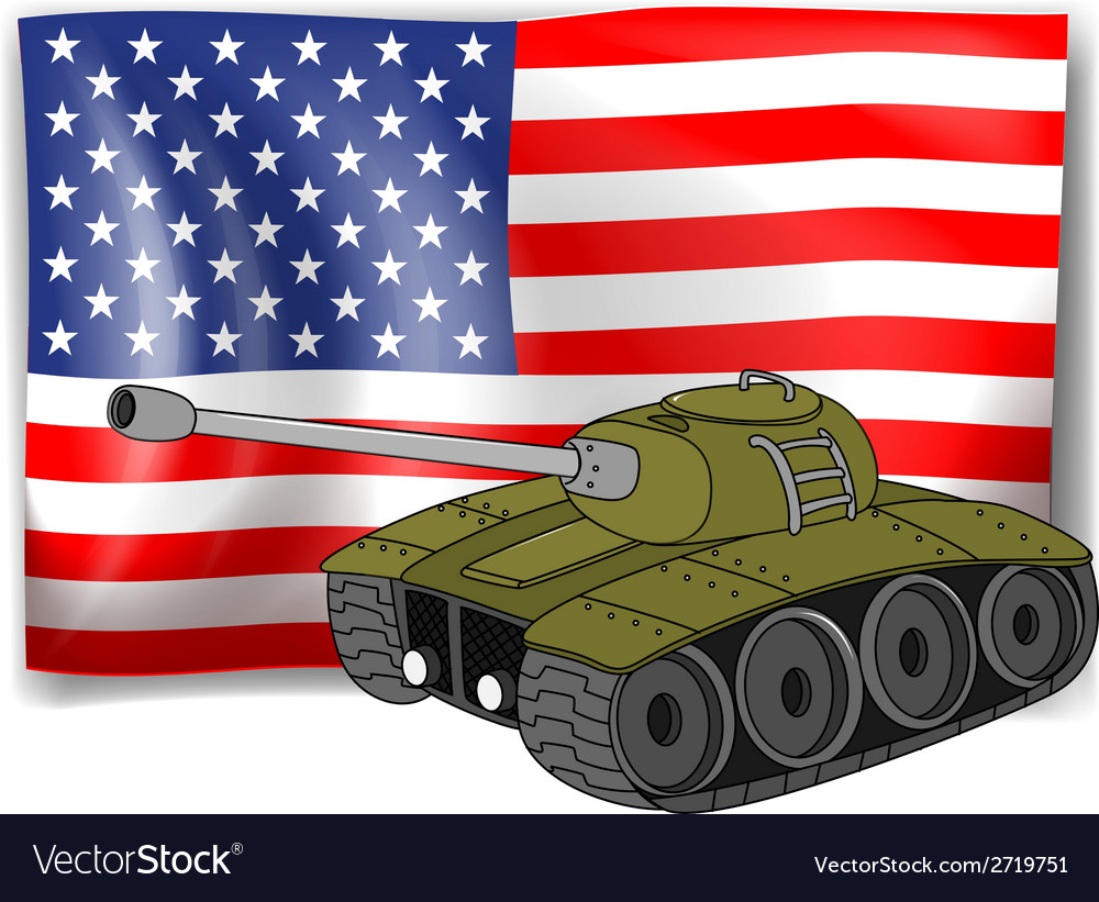 Flag and tank vector | Price: 1 Credit (USD $1)