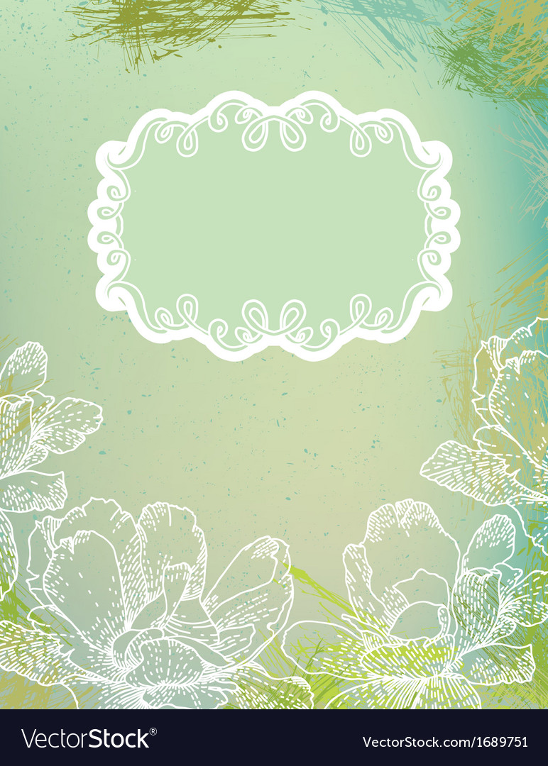 Flowers over green watercolor brushstrokes vector | Price: 1 Credit (USD $1)