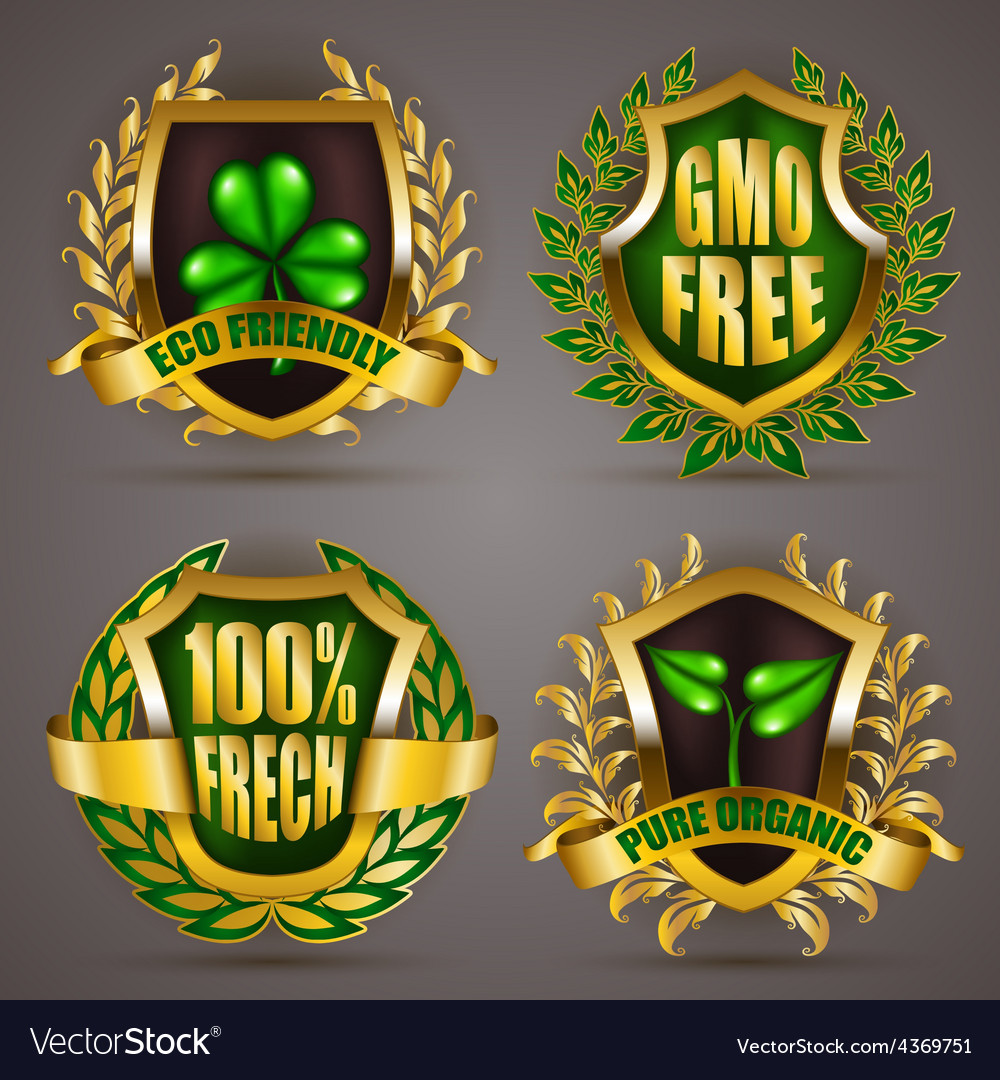 Golden badges with laurel wreath vector   Price: 1 Credit (USD $1)