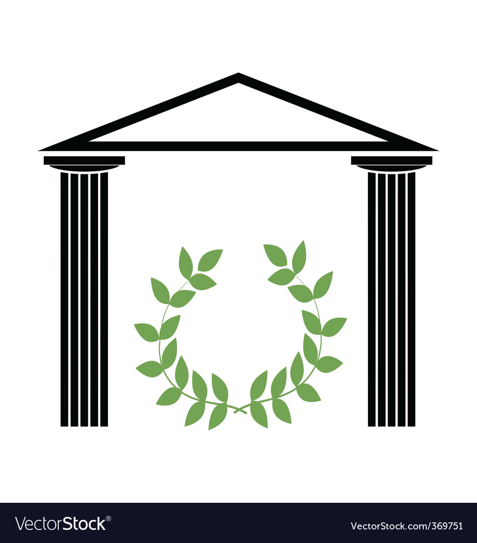 Greek temple with doric columns vector | Price: 1 Credit (USD $1)