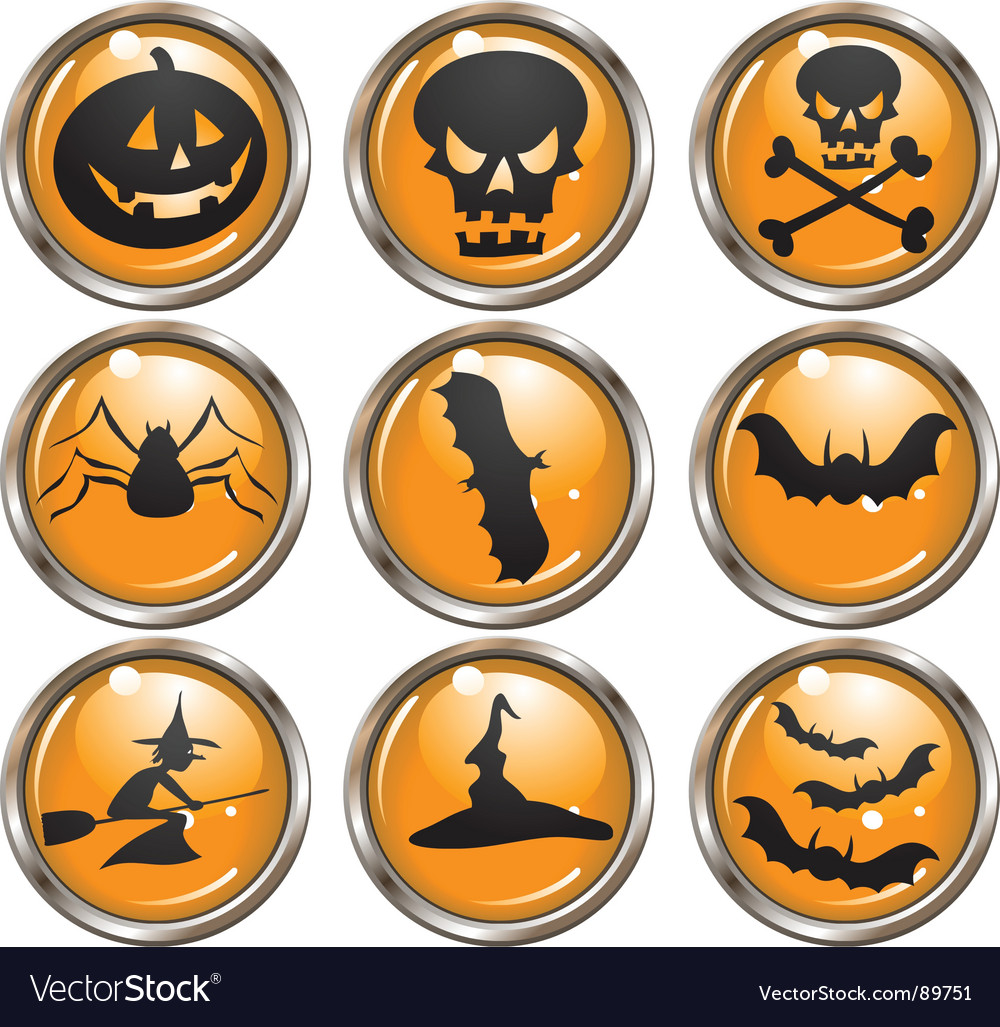 Halloween icon buttons vector | Price: 1 Credit (USD $1)