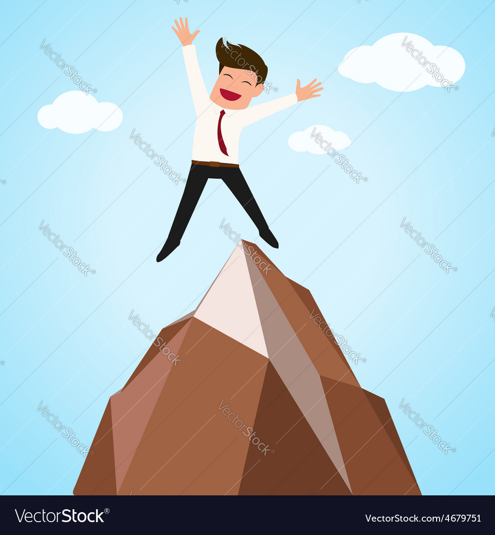 Happy businessman successful jumping on top of mo vector | Price: 1 Credit (USD $1)