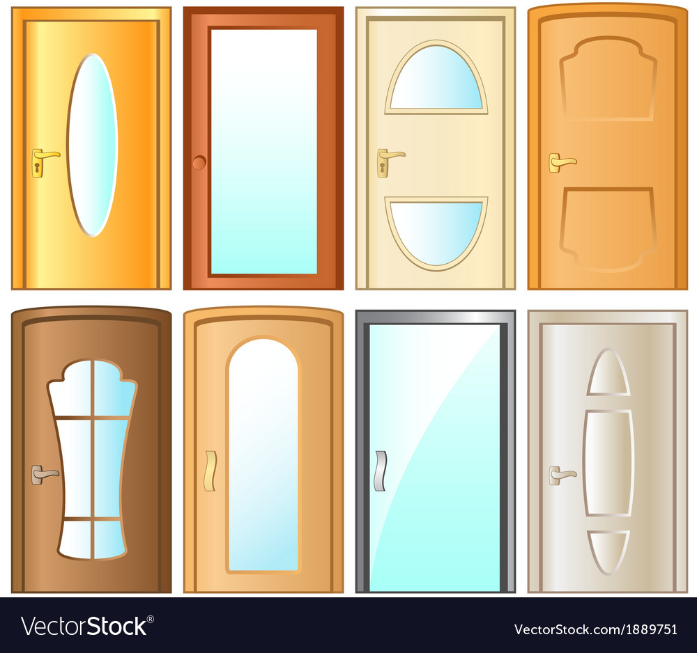 Set isolated modern door for home interior vector | Price: 1 Credit (USD $1)