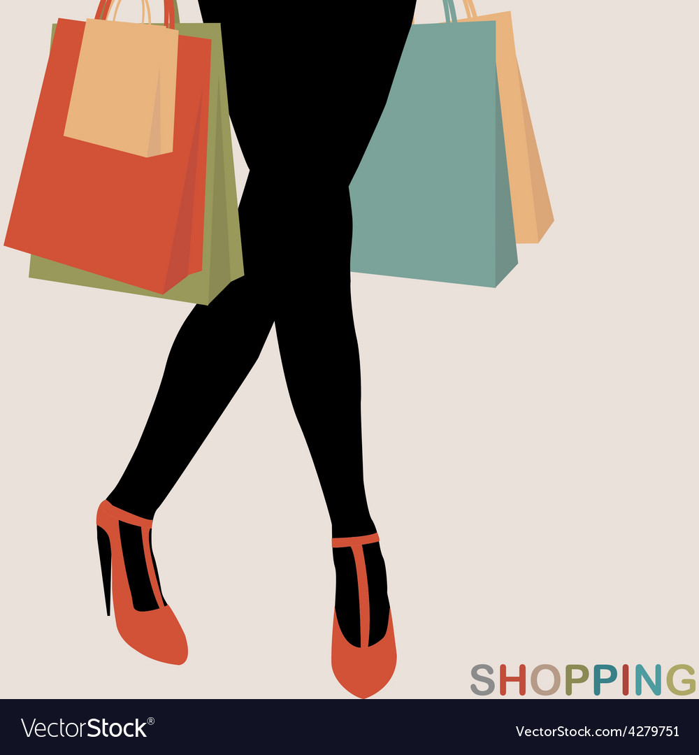 Shopping concept with woman silhouette carrying vector | Price: 1 Credit (USD $1)