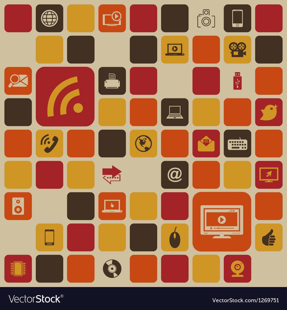 Social media retro background vector | Price: 1 Credit (USD $1)