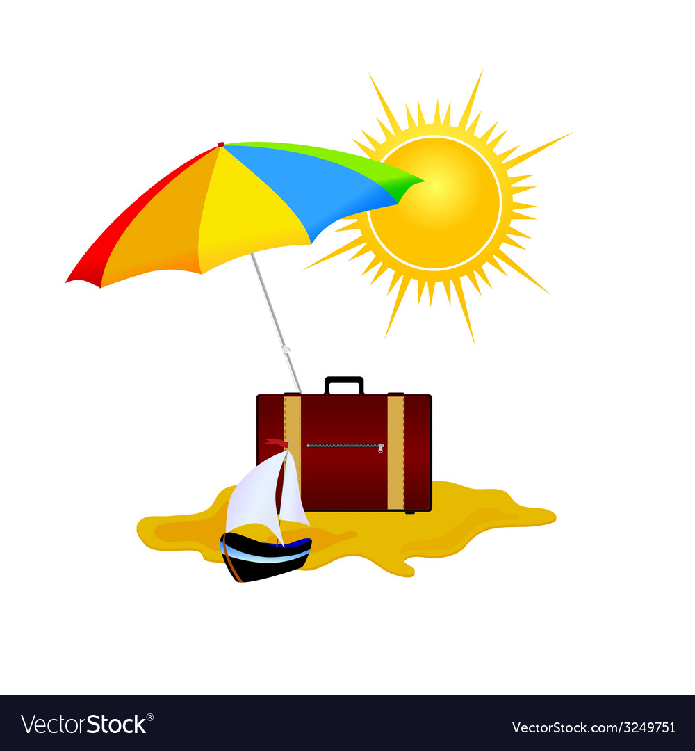 Umbrella and bag summer symbol vector | Price: 1 Credit (USD $1)