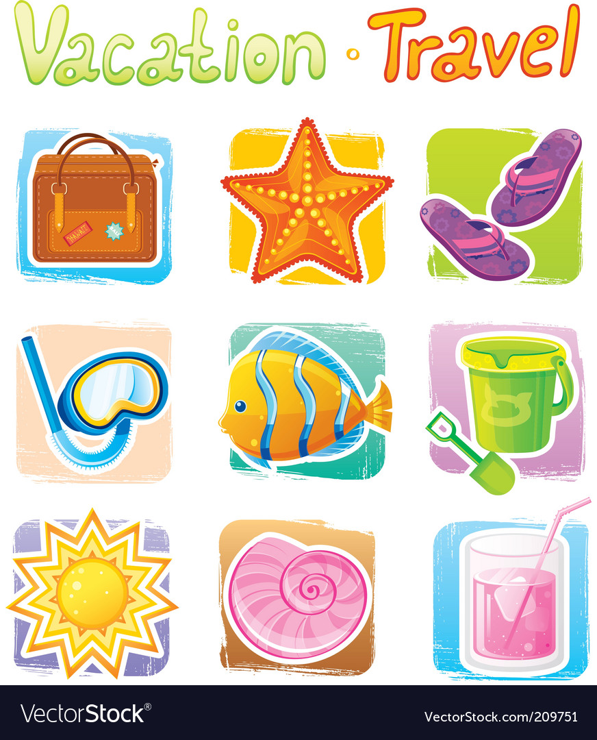 Vacation icons vector | Price: 1 Credit (USD $1)