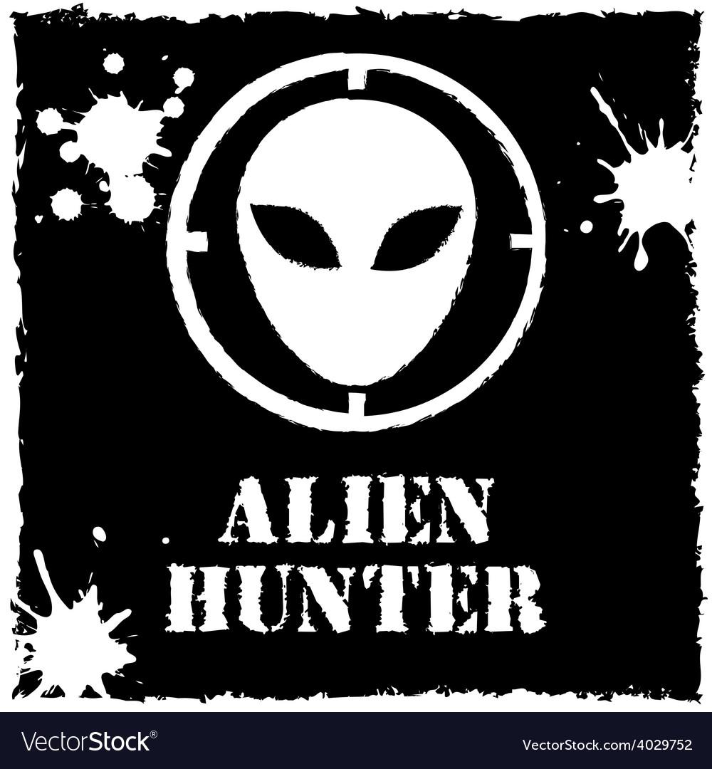 Alien hunter logo on black background vector | Price: 1 Credit (USD $1)