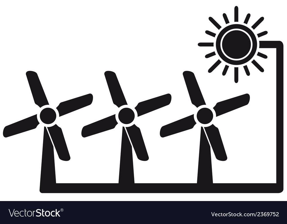 Alternative energy symbol with windmill vector | Price: 1 Credit (USD $1)
