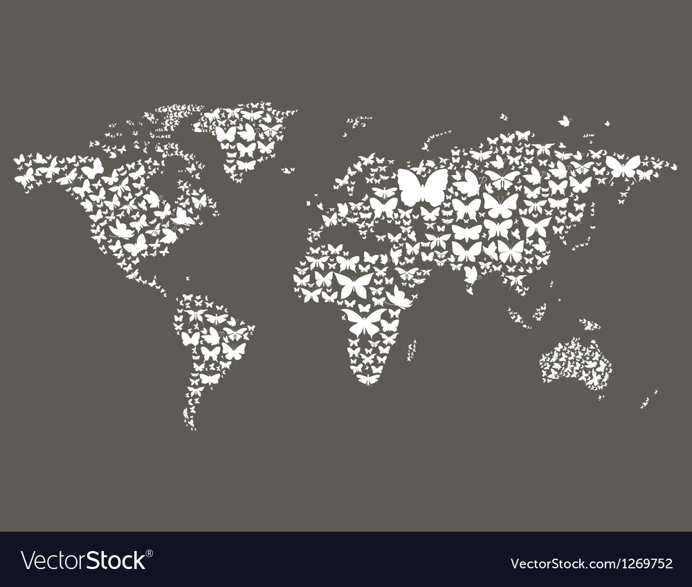 Butterfly world map vector | Price: 1 Credit (USD $1)