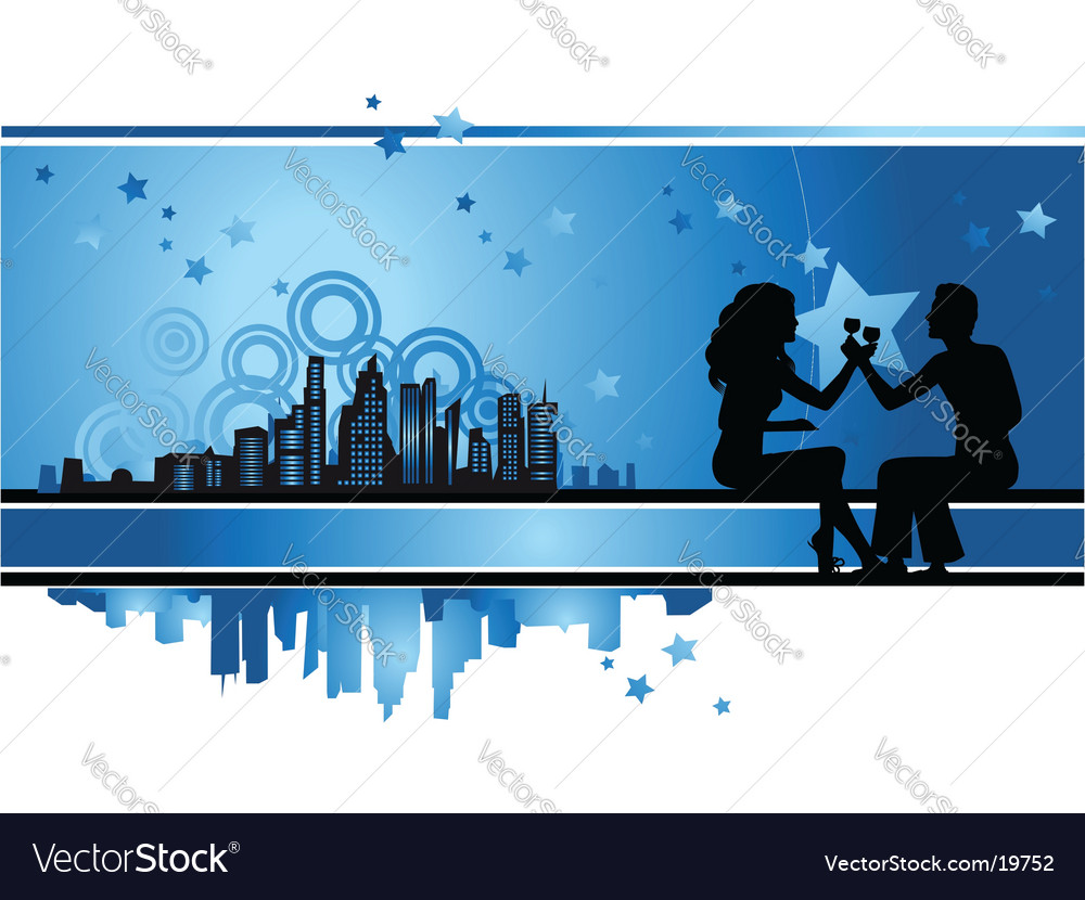 Cityscape urban frame couple silhouette vector | Price: 1 Credit (USD $1)