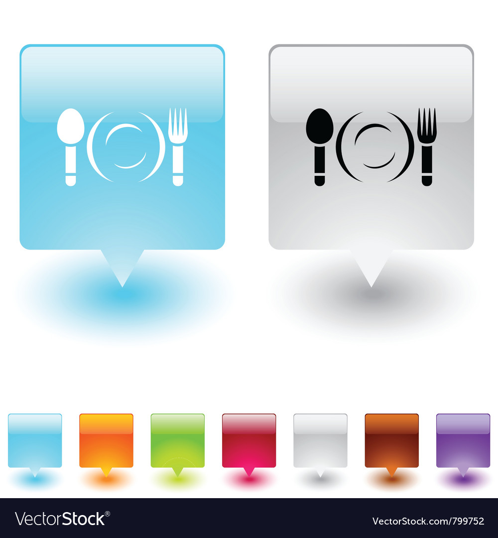 Dinner square button vector | Price: 1 Credit (USD $1)