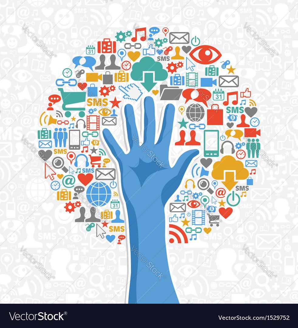 Diversity social media hand tree vector | Price: 1 Credit (USD $1)