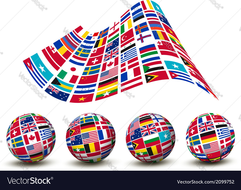 Flags of the world countries four globes vector | Price: 1 Credit (USD $1)