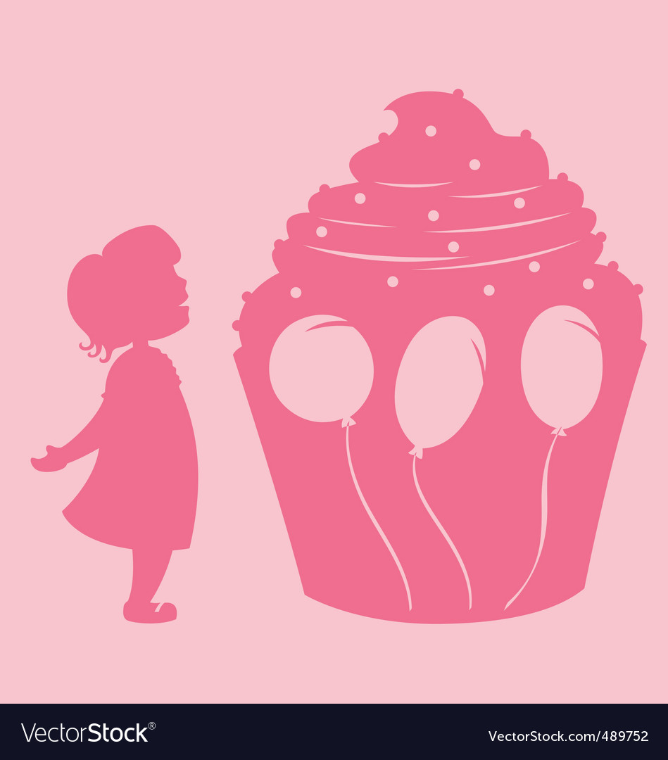 Girl and cupcake vector | Price: 1 Credit (USD $1)