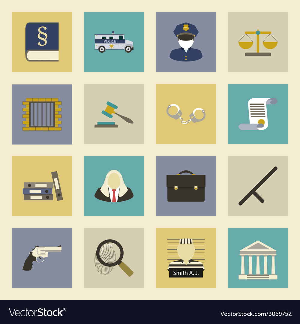 Law and justice flat icons set vector | Price: 1 Credit (USD $1)