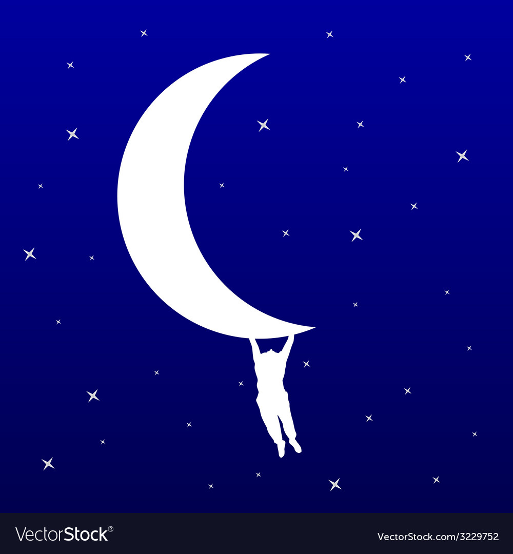 Man hanging on the moon vector | Price: 1 Credit (USD $1)