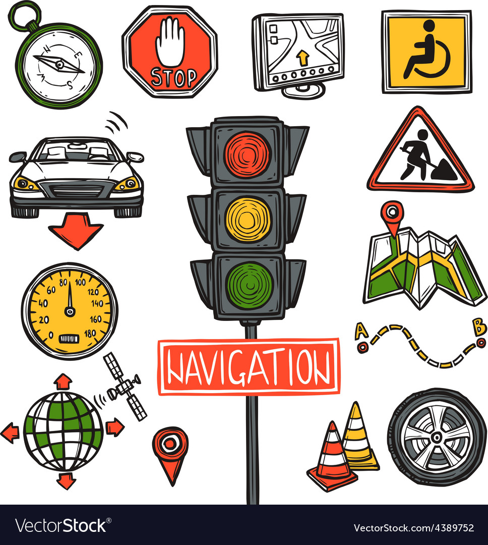 Navigation icons sketch vector | Price: 1 Credit (USD $1)