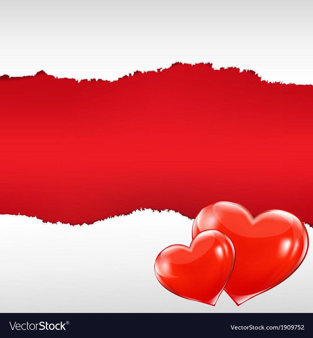 Red torn poster with hearts vector | Price: 1 Credit (USD $1)