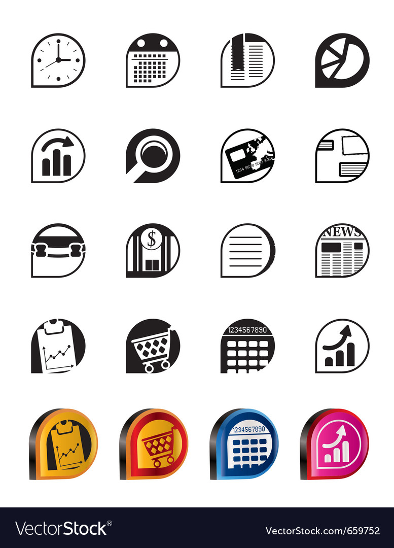 Simple business and office internet icons vector | Price: 1 Credit (USD $1)