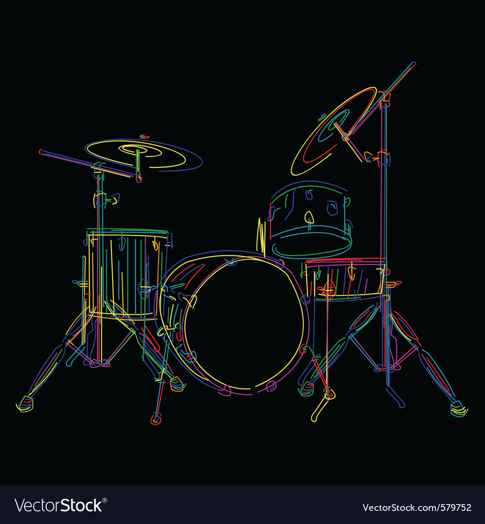 Stylized drum kit graphic over black vector | Price: 1 Credit (USD $1)