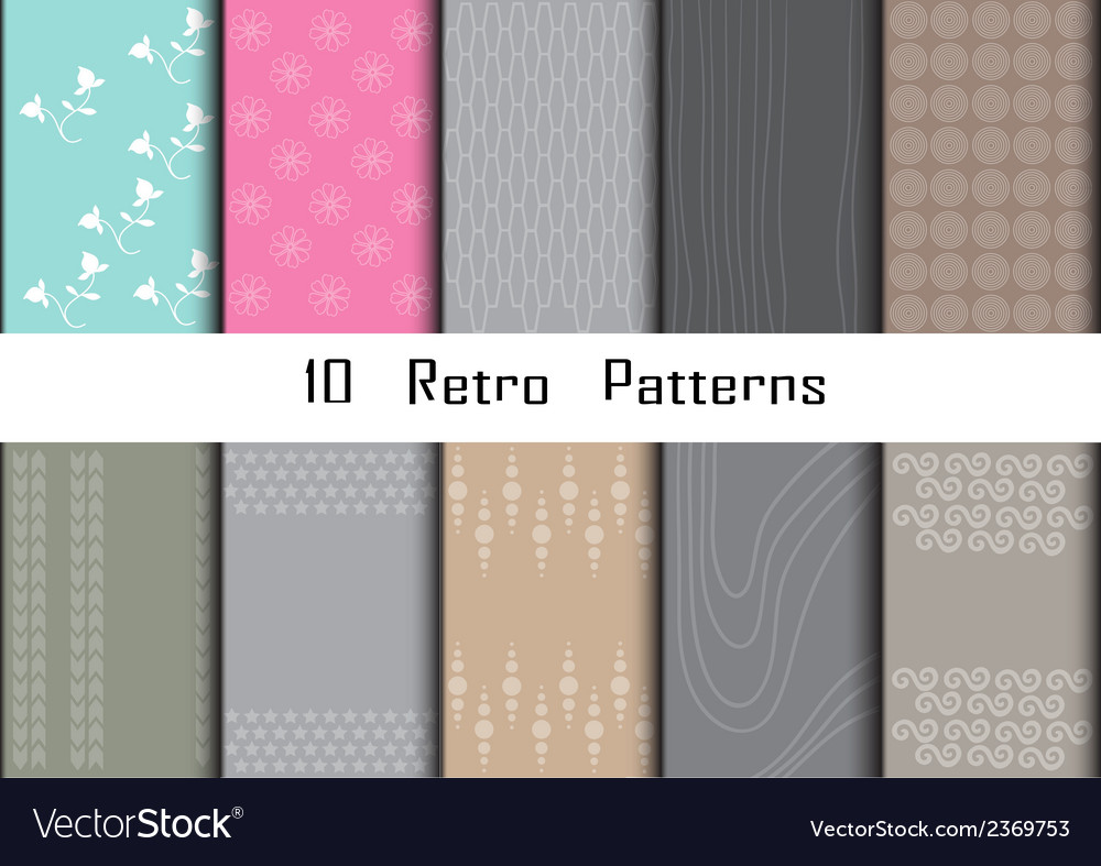 10 retro different seamless patterns vector | Price: 1 Credit (USD $1)