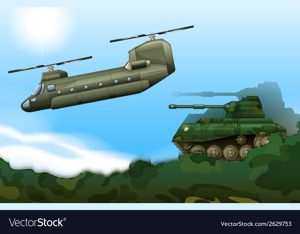 A military tank and a helicopter vector | Price: 1 Credit (USD $1)